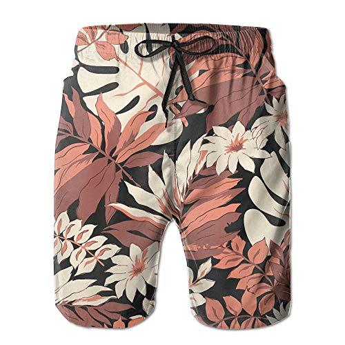Tropical Leaves Print Trajes de baño Casuales de Secado rápido para Hombres/niños Pantalones de Playa de Cintura elástica con Bolsillos,L