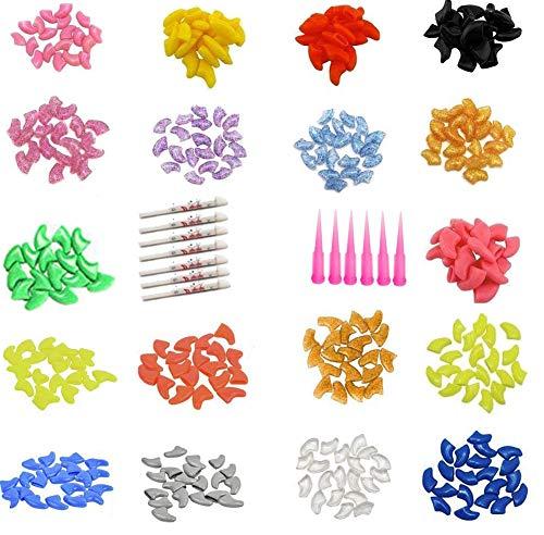 JOYJULY 100 tapas de uñas para gatos y gatos, con diseño de garra de gatito, con 5 patas, diferentes coloridas, para gatos, 5 adhesivos y 3 aplicadores con instrucciones, pequeño S
