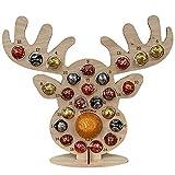 Yacriso Calendario de Adviento de Navidad de Madera, Soporte de Chocolate con Forma de Alce de árbol de Navidad Ahuecado, Soporte de exhibición de Dulces DIY, Regalo novedoso (B)