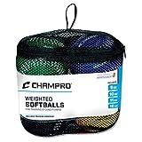 Champro Training Softballs, Set of 4 (Green/Yellow/Black/Blue, 12-Inch)