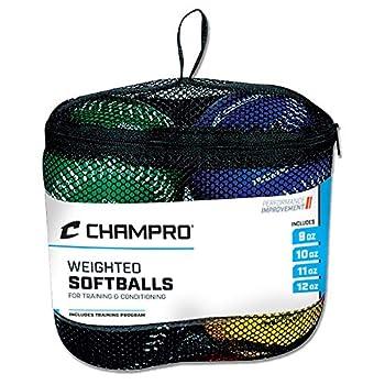 Champro Training Softballs Set of 4  Green/Yellow/Black/Blue 12-Inch
