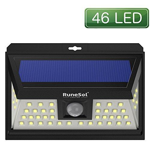 Luces 46 LED Runesol® con sensor | Lámpara Solares Con 46 Luces LED | Luz LED con Focos Para Iluminar Exteriores, Patios, Cercas, De Jardin, Entradas | Panel De Seguridad LED | Luz Solar