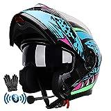 Bluetooth Casco de Moto Modular con Doble Anti Niebla Visera Integrado Casco de Motocicleta ECE Homologado a Prueba de Viento Guantes Gratis para Hombres Mujeres 59-64CM