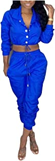 Women Solid-Colored Drawstring 2 Piece Tops with Pants Set Tracksuit