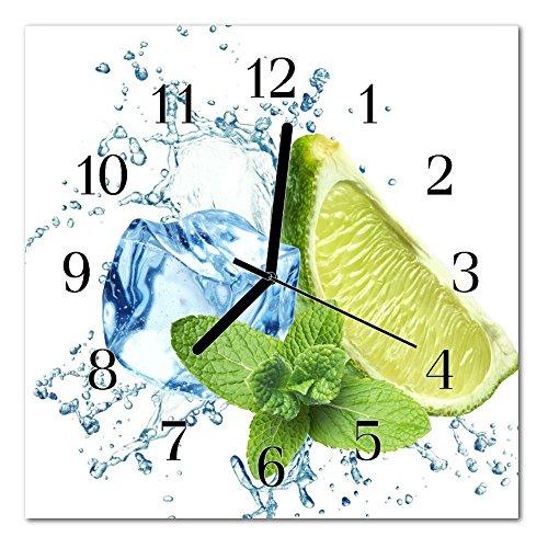 DekoGlas Glasuhr \'Limette Minze grün\' Uhr aus Acrylglas, eckig große Motiv Wanduhr 30x30 cm, lautlos für Wohnzimmer & Küche