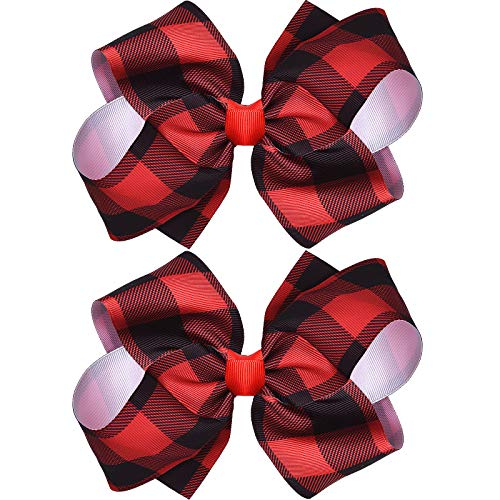 Syhood 2 Pieces Christmas Large Bows with Alligator Clips Plaid Bow Hairpin Red and Black Checkered Bow Hair Accessories for Girls Women Christmas Party