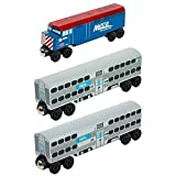Chicago Metra F-40 Engine 3pc. Set - Wooden Toy Train by Whittle Shortline Railroad