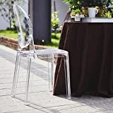 Efavormart Clear Transparent Banquet Ghost Chair Armless Stacking Accent Chair with Oval Back Acrylic, Invisible Plastic Construction, Unique Style