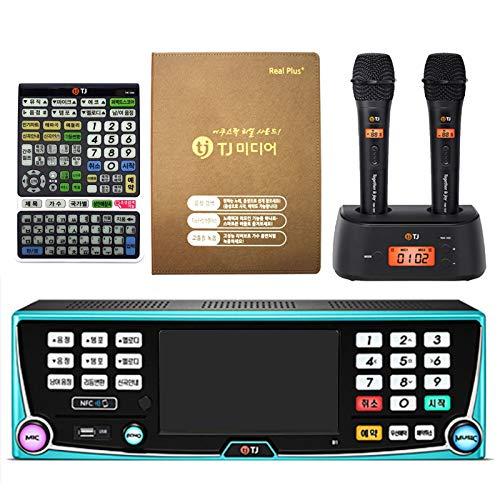 TJ B1 Karaoke Machine Korean Karaoke Singing Machine 1TB HDD System + TMW-100 Wireless Microphone 2P + Keyboard Controller + Song Book Set (Black)