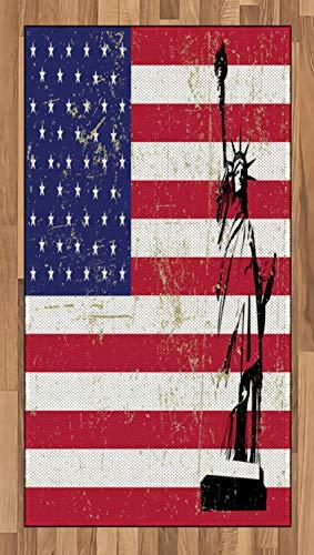 ABAKUHAUS Nueva York Alfombra de Área, Estatua de la Libertad Bandera EEUU Estilo Retro Ícono Famoso del Mundo, Material Durable Resistente a Las Manchas Apta Lavadora, 80 x 150 cm, Coral Oscuro
