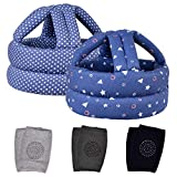 TORASO Baby Safety Helmet & Baby Knee Pads for Crawling, Baby Head Protector, Infant Safety Helmet & Walking Baby Helmet, for Age 6-36 Months, Blue Dots&Shapes(A)