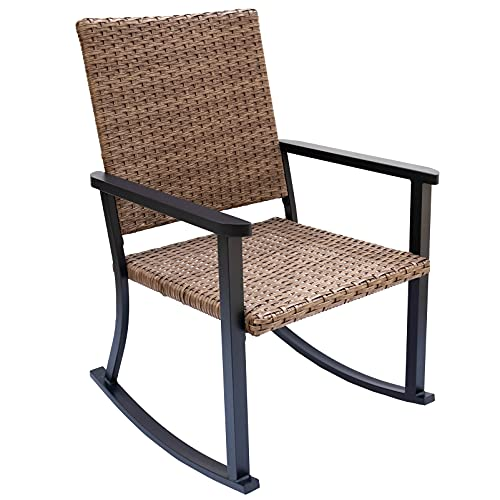 C-Hopetree Outdoor Rocking Chair for Outside Patio Porch, Metal Frame, Natural All Weather Wicker