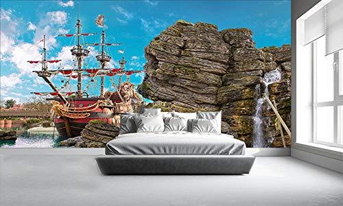GBHL Kindertapete, PIRATE ISLAND Wandbilder für Kinderzimmer Wohnzimmer Hintergrund Dekoration Tapete, 200x140 cm (78.7 by 55.1 in)