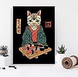 QINGRENJIE Japanische Retro Zen Ramen König von Sushi Neko