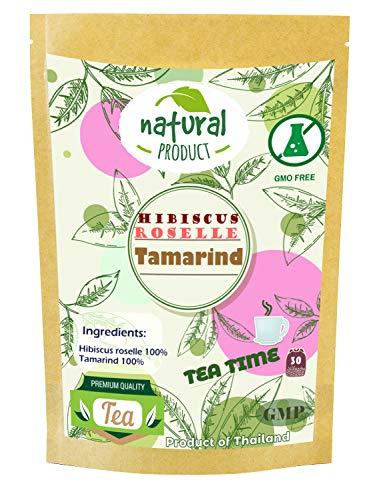 Hibiscus roselle Blend Tamarind 30 Tea Bags Original Grown in Thailand