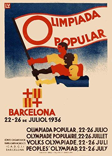 Vintage Olimpiadas 1936juegos olímpicos de Barcelona España olimpiada Popular Español organizado por nuevo frente Popular. cancelado como Guerra Civil Española estalló 1día antes de 250gsm ART tarjeta brillante A3reproducción de póster