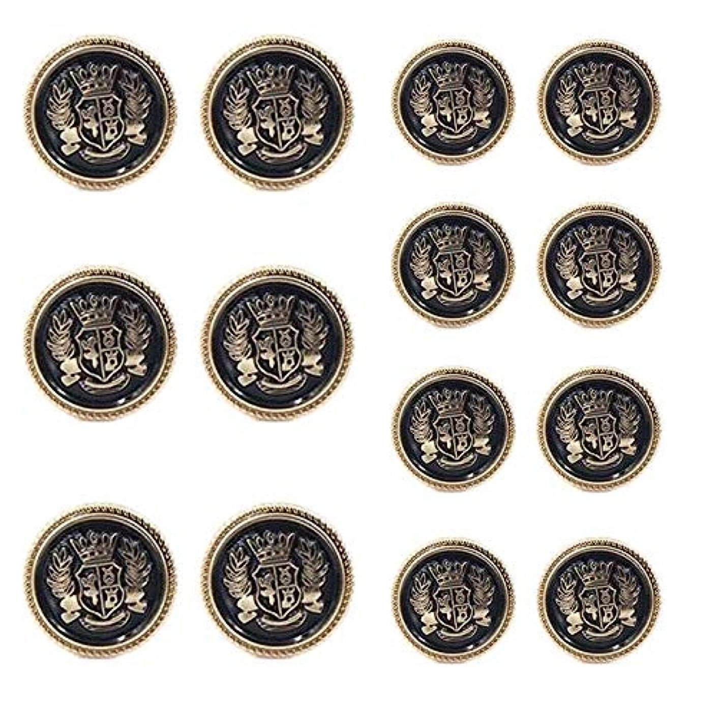 Chris.W 14 Pieces Antique Metal Blazer Buttons Set for Suits, Sport Coat, Uniform, Jackets, 6 Pieces 20mm and 8 Pieces 15mm, Shank Style(Gold & Black)