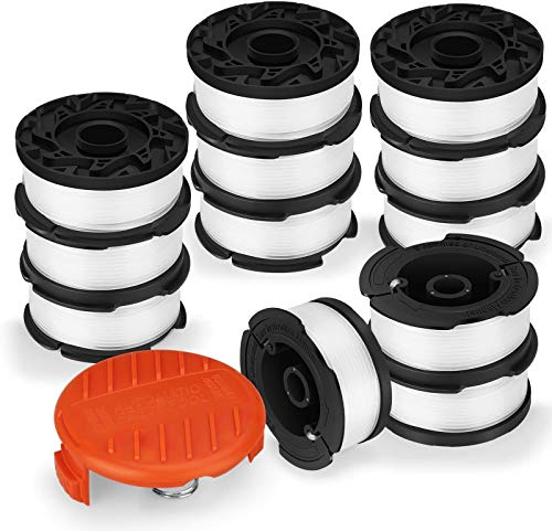 "Eventronic Line String Trimmer Replacement Spool, 30ft 0.065"" Autofeed Replacement Spools for Black+Decker String Trimmers (12-Line Spool + 1 Cap+1 Spring)"