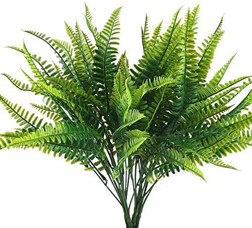 Künstliche Pflanze, 4 Stück künstliche Pflanzen Farn Wetterfeste Kunststoffpflanze im Freien Gefälschte künstliche grüne Pflanzen Balkonpflanzen für Balkon außerhalb des Gartentopfs zu Hause Frühlin