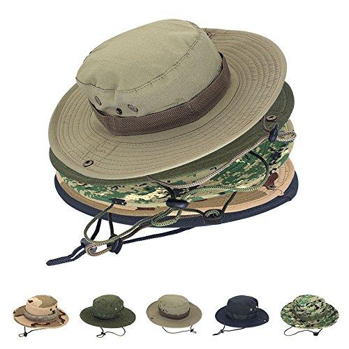 ayamaya Summer Mens/Womens Safari Hat, Wide Brim Fishing Caps Sun Protection Boonie Hats Breathable Quick Drying Outdoor UV Protective Sun Visor Bucket Cap for Hunting Camping Travelling - Khaki