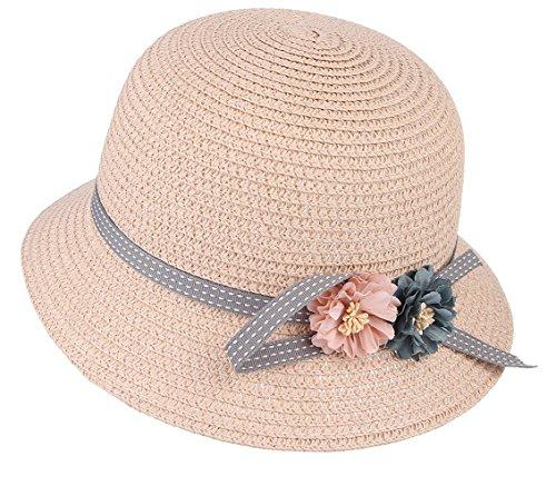 La vogue Kinder Mädchen Sonnenhut Sommer Blumen Strohhut Strandhut Helrosa