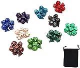 DollaTek Set di Dadi poliedrici 10 Set di Dadi Completi (70 Pezzi) di D4 D6 D8 D10 D% ...