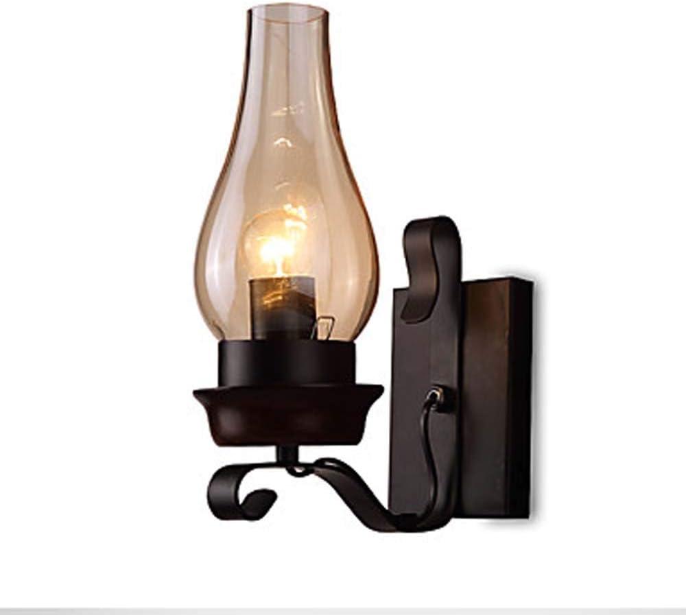Venhoy Night Light Fresno Mall Max 81% OFF LED Glass Bulb Retro Black Wrought Iron Wall