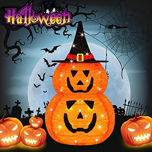 Halloween decorations outdoor,Halloween Decor Lighted Pumpkin,3 Ft Halloween Pumpkin Decor with Hat Collapsible,Stacked Halloween pumpkins decorations,Waterproof 60LED Halloween lights outdoor Indoor