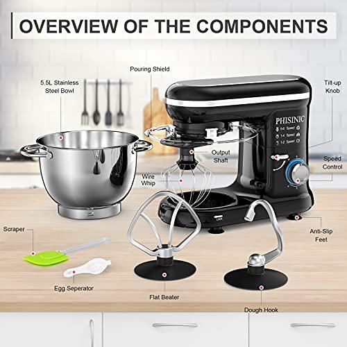 PHISINIC Küchenmaschine Knetmaschine 1500W Teigmaschine Rührmaschine mit 5,5 L Edelstahl Schüssel Geräuscharme Teigknetmaschine inkl 3-Teiligem Patisserie-Set und Spritzschutz-Schwarz - 6