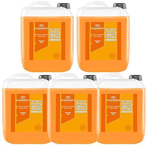 Cleanerist Flüssigwaschmittel Premium Waschmittel mit Orangenduft   5x5 Liter Vollwaschmittel Grosspackung   bis zu 550 Waschladungen color weiß schwarz