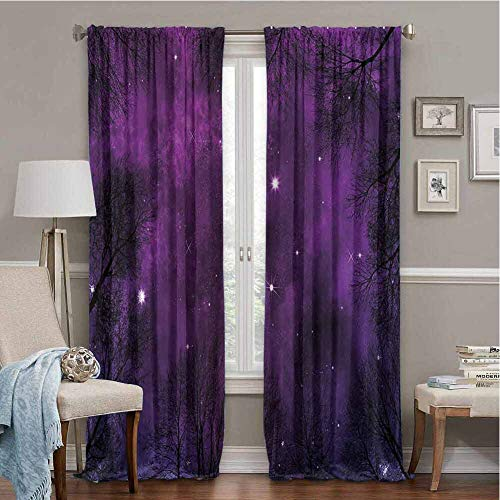 FOEYESEE Blackout Curtains Night Sky Outer Space in Planet View of Forest Branches Stars Abstract Design Dark Purple and Black Boys Girls Bedroom Dorm W63 xL63