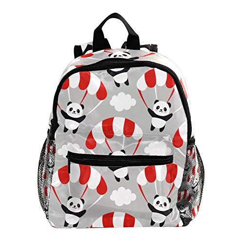 Rucksack für Mädchen Kinder Schultasche Kinder Büchertasche Frauen Casual Daypack Grün Schwarz Schädel Gray Cloud Fallschirm-Panda 25.4x10x30 CM/10x4x12 in