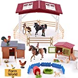 iPlay, iLearn Farm Animal House Toys, Kids Barn Set, Farmhouse Country Playset W/ Horse Stable, Barnyard Toy Figures Puppy Chicken Rabbit, Learning Birthday Gift for 3 4 5 6 7 Years Old Boy Girl Child