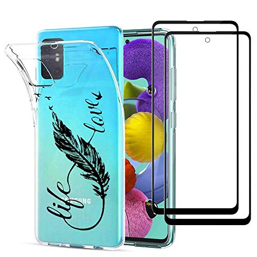 MUTOUREN Compatible with Samsung Galaxy A51 (5G) Case Clear Crystal TPU Silicone Cover Transparent Anti-Scratch Ultra Slim Bumper with 2X [Tempered Glass], Feather and Love