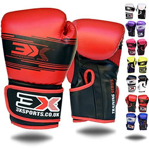 3X Professional Choice Niños Guantes de Boxeo Maya Hide Saco de Boxeo de Cuero Mitones Kickboxing Sparring Krav Maga Entrenamiento de Artes Marciales Niños Niñas