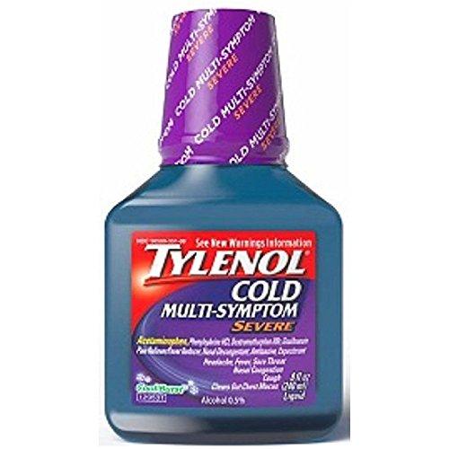 TYLENOL Cold Multi-Symptom Severe Daytime Liquid, Cool Burst 8 oz (Pack of 4)