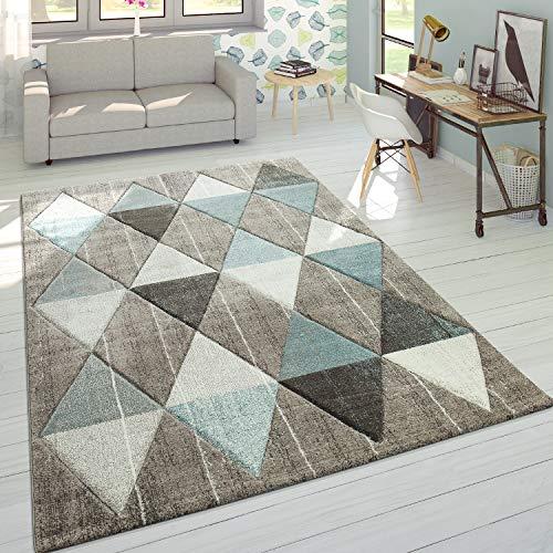 Paco Home Designer Teppich Modern Konturenschnitt Pastellfarben Rauten Design Beige Blau, Grösse:160x230 cm