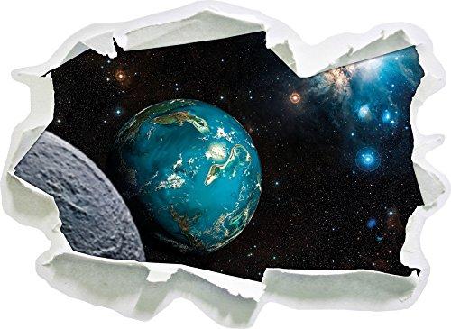Planet Erde im Kosmos, Papier 3D-Wandsticker Format: 62x45 cm Wanddekoration 3D-Wandaufkleber Wandtattoo