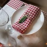 Linen & Cotton 4 x Stoffservietten Servietten Stoff Leinenservietten Kariert im Landhausstil Estella - 100% Leinen, Weiß Weiss Rot (32 x 32cm) Verschiedene Frühling/Home Küche Restaurant Cafe Bistro - 2