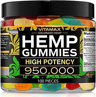 Vitamax Hemp Gummies - Great for Peace, Rest & Relaxation - 950,000 - Natural Fruit Flavors Tasty Relief – Made in USA – Relaxing Gummies – 100ct from Vitamax