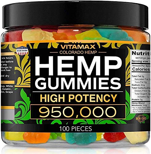 Vitamax Hemp Gummies - 950000 - Great for Stress, Anxiety & Sleep Relief - Made in The USA - Natural Tasty & Relaxing Gummies - 100ct