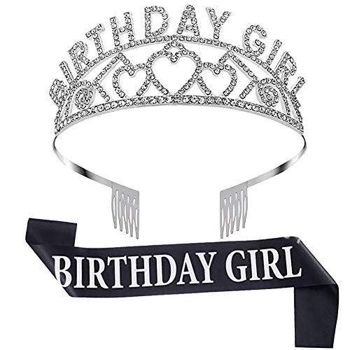 """Happy Birthday Tiara Kristall Strass Krone Tiara Hochzeit Haarkamm Brautschmuck Geburtstag Haarband für Frauen Schärpe und Diadem für Mädchengeburtstag mit Aufschrift """"Birthday..."""