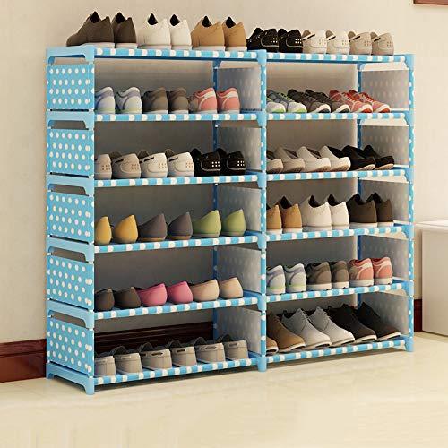 QFFL Le support simple de chaussure de support de chaussure deux rangées de supports de chaussure de tissu multicouche porte-chaussures multifonctionnel de chambre à coucher Range-chaussures