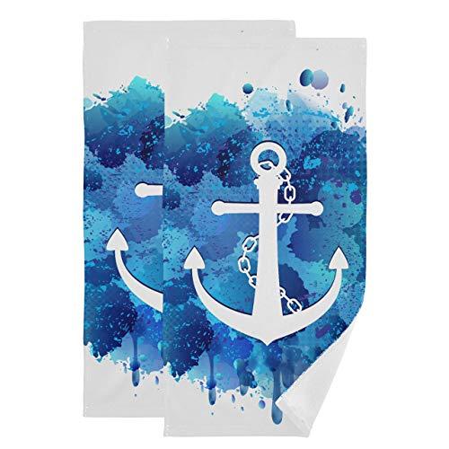 Juego de 2 Divertidas Toallas de Playa Art Anchor Icon Toallas faciales simbólicas para baño Toallas de Entrenamiento absorbentes Suaves de Secado rápido adecuadas para baño, Cocina, Inodoro, Playa