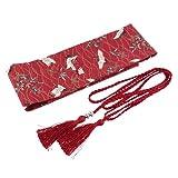 サッシュベルト ウエストリボン 和風 レディース 赤戴冠クレーン 芸者 3色選択でき - 赤