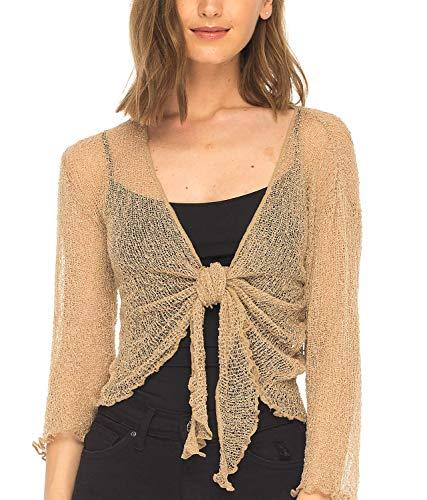 SHU-SHI Womens Sheer Shrug Tie Top Cardigan Lightweight Knit,Tan/Beige,One Size