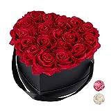 Relaxdays Rosenbox Herz, 18 Rosen, stabile Flowerbox schwarz, 10 Jahre haltbar, Geschenkidee, dekorative Blumenbox, rot