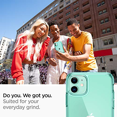 SpigeniPhone11ケース6.1インチ対応高透明クリアカバー米軍MIL規格取得耐衝撃カメラ保護衝撃吸収全面PCTPU二層構造Qi充電ワイヤレス充電アイフォン11ケースシュピゲンウルトラ・ハイブリッドACS00406(グリーン・クリスタル)