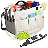 FifthStart Wearable Cleaning Caddy with Handle Caddy Organizer for Cleaning Supplies with Shoulder and Waist Straps, Car Organizer, Under Sink Organizer: (Beige, Small)