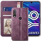 YATWIN Handyhülle Huawei Y6 2019 Hülle, Klapphülle Huawei Y6 2019 Premium Leder Brieftasche Schutzhülle [Kartenfach][Magnet][Stand] Handytasche für Huawei Y6 2019 Hülle, Weinrot